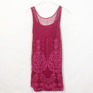 Free People Pink Embroidered Lace Dress S